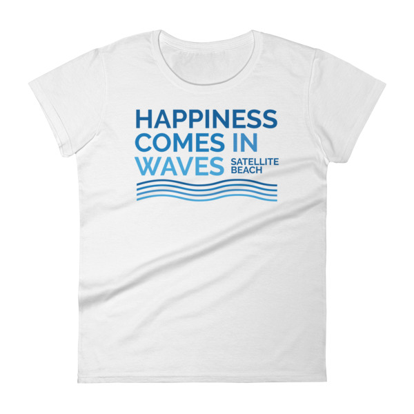 2cf84bc5bda Happiness Comes in Waves Women s short sleeve t-shirt - Satellite ...